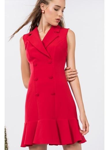 İroni Kolsuz Blazer Elbise Kırmızı